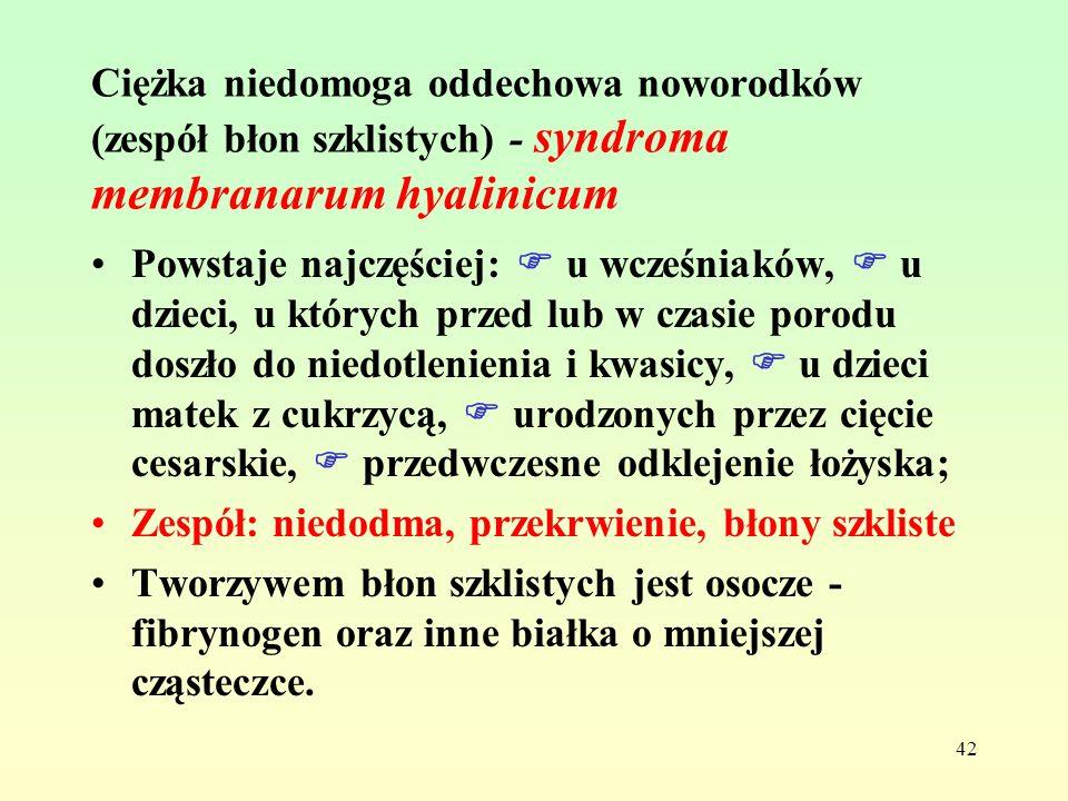 Ciężka niedomoga oddechowa noworodków (zespół błon szklistych) - syndroma membranarum hyalinicum