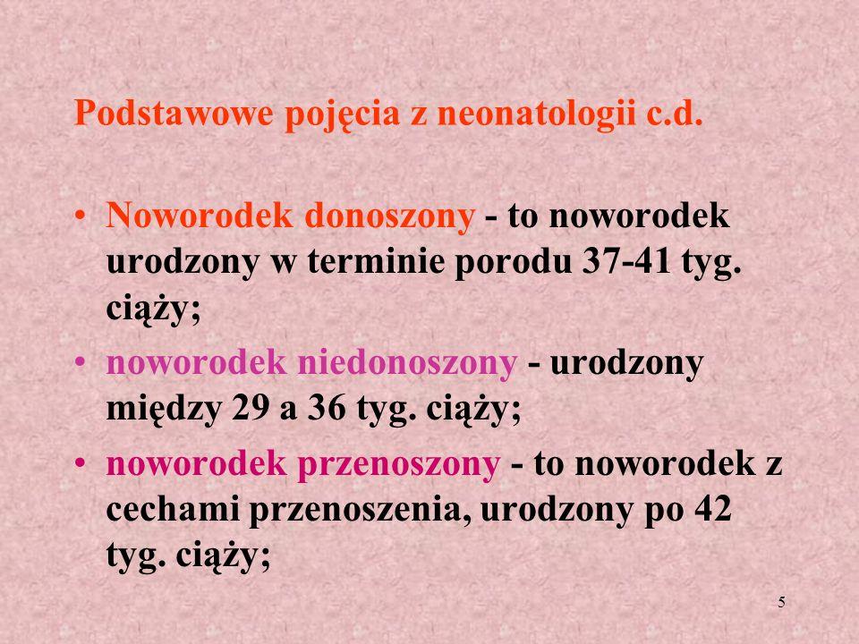 Podstawowe pojęcia z neonatologii c.d.