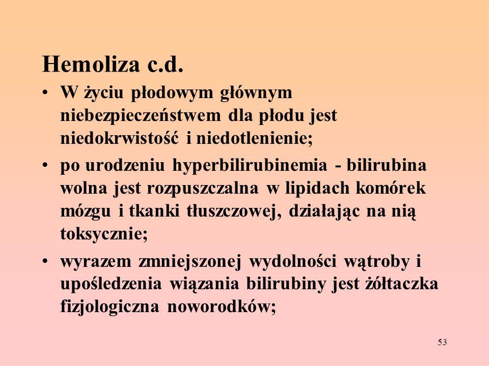 Hemoliza c.d. W życiu płodowym głównym niebezpieczeństwem dla płodu jest niedokrwistość i niedotlenienie;