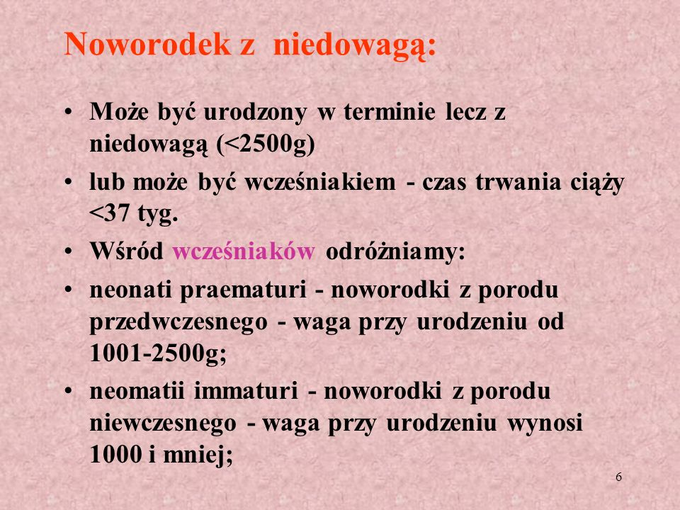 Noworodek z niedowagą: