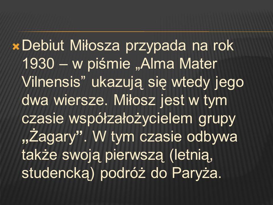 """Debiut Miłosza przypada na rok 1930 – w piśmie """"Alma Mater Vilnensis ukazują się wtedy jego dwa wiersze."""
