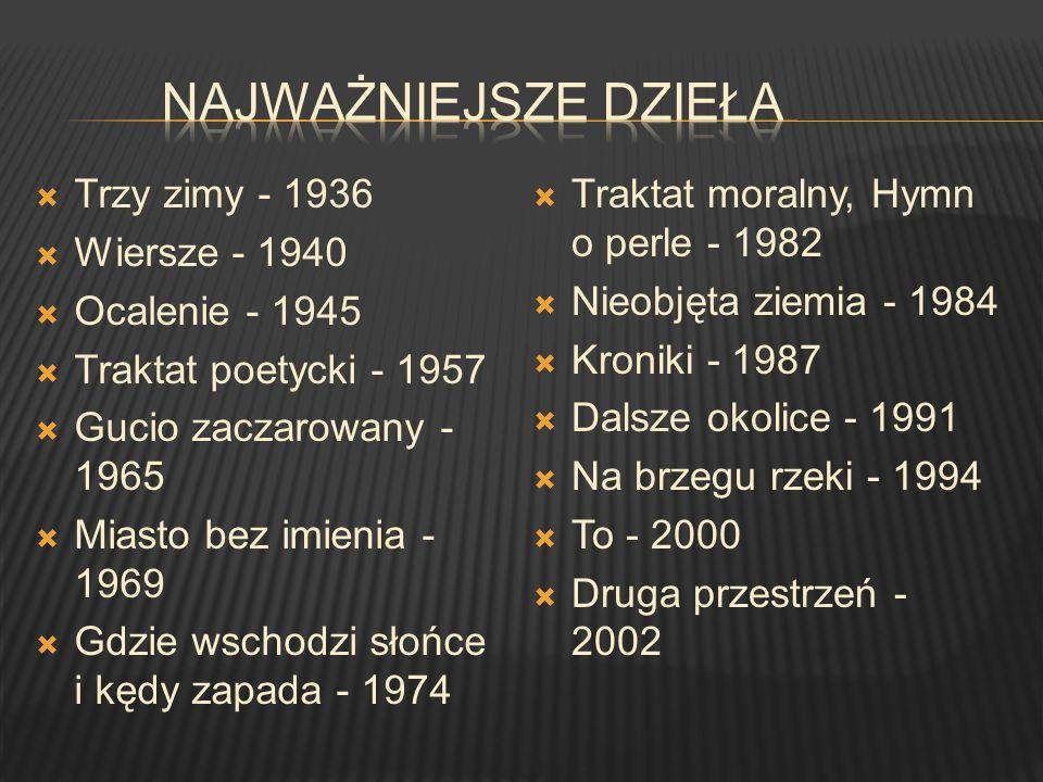 Najważniejsze Dzieła Trzy zimy - 1936 Wiersze - 1940 Ocalenie - 1945
