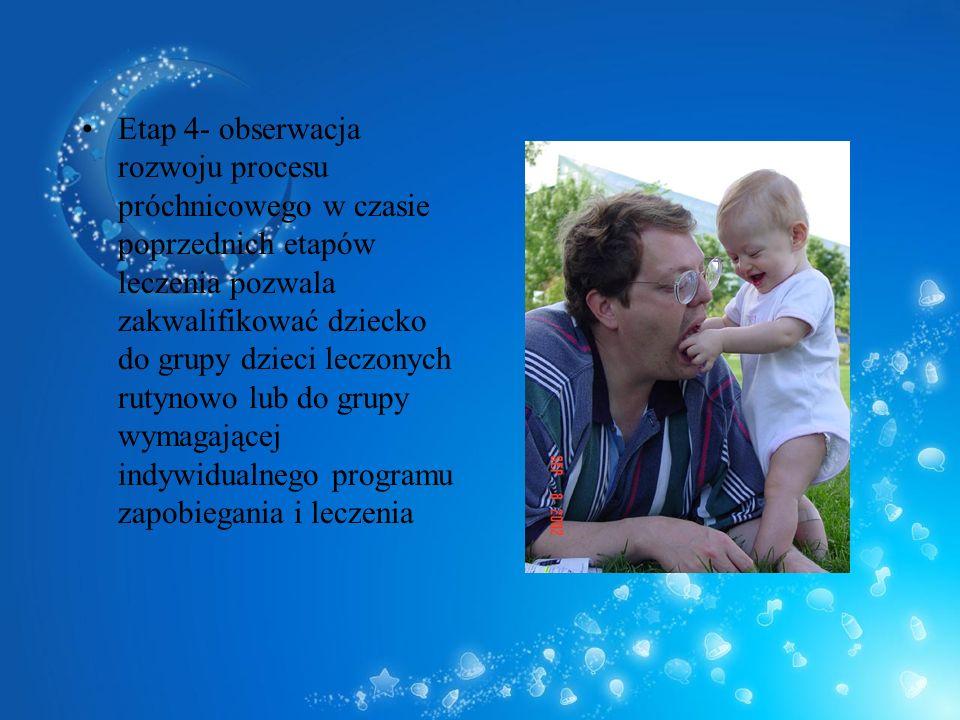 Etap 4- obserwacja rozwoju procesu próchnicowego w czasie poprzednich etapów leczenia pozwala zakwalifikować dziecko do grupy dzieci leczonych rutynowo lub do grupy wymagającej indywidualnego programu zapobiegania i leczenia