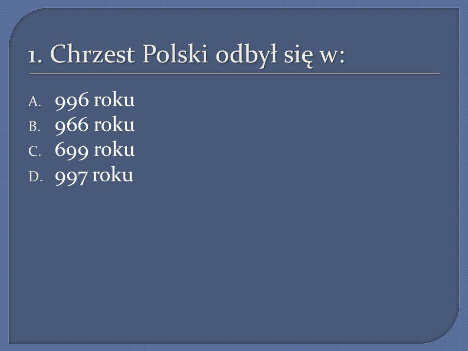 1. Chrzest Polski odbył się w: