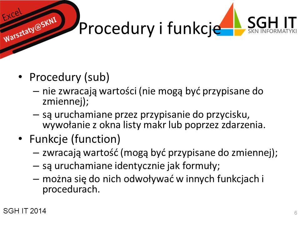 Procedury i funkcje Procedury (sub) Funkcje (function)