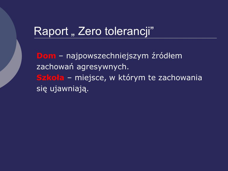 "Raport "" Zero tolerancji"