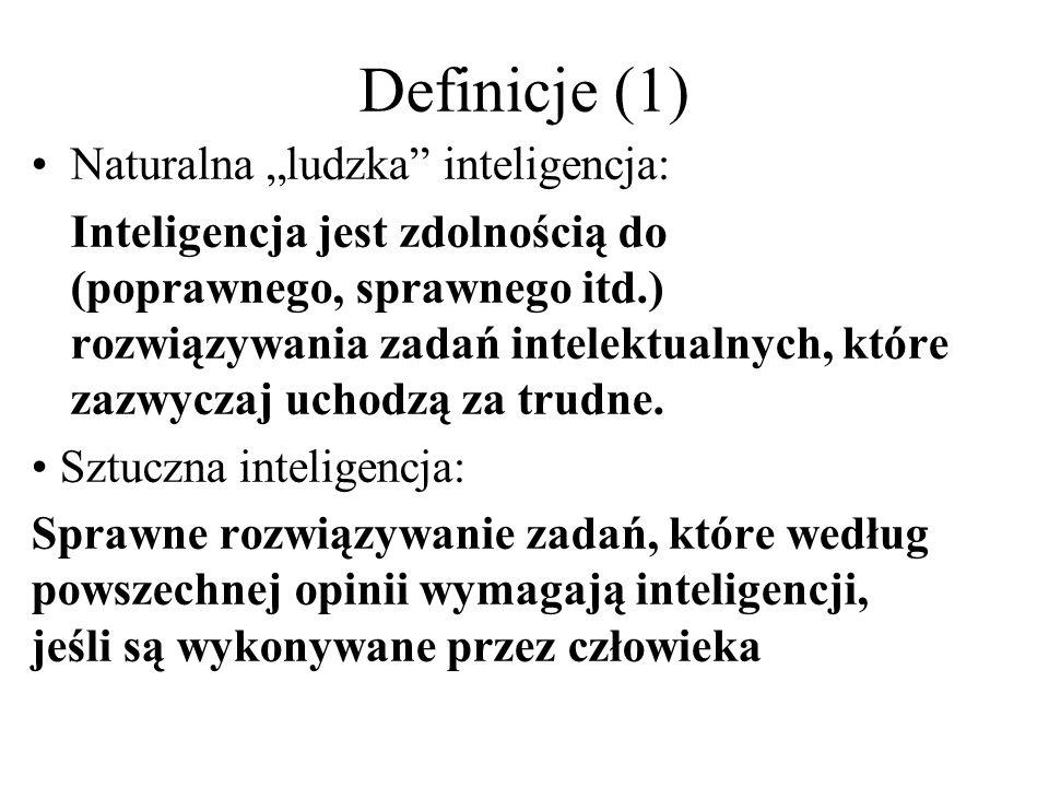 "Definicje (1) Naturalna ""ludzka inteligencja:"