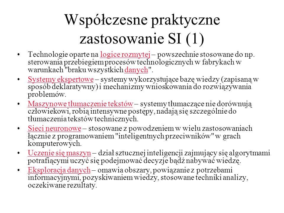 Współczesne praktyczne zastosowanie SI (1)