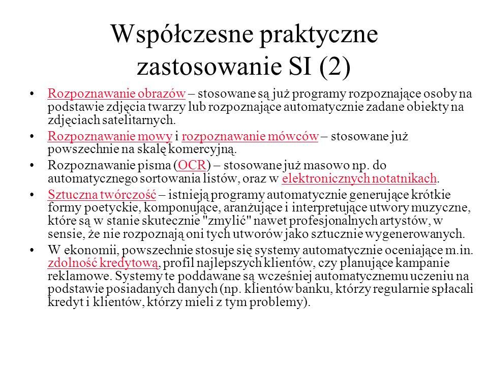 Współczesne praktyczne zastosowanie SI (2)