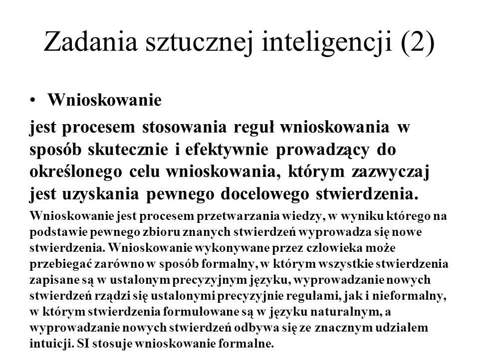 Zadania sztucznej inteligencji (2)