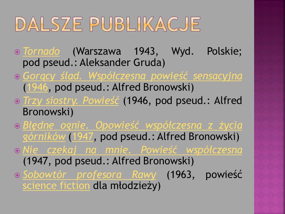 Dalsze publikacje Tornado (Warszawa 1943, Wyd. Polskie; pod pseud.: Aleksander Gruda)