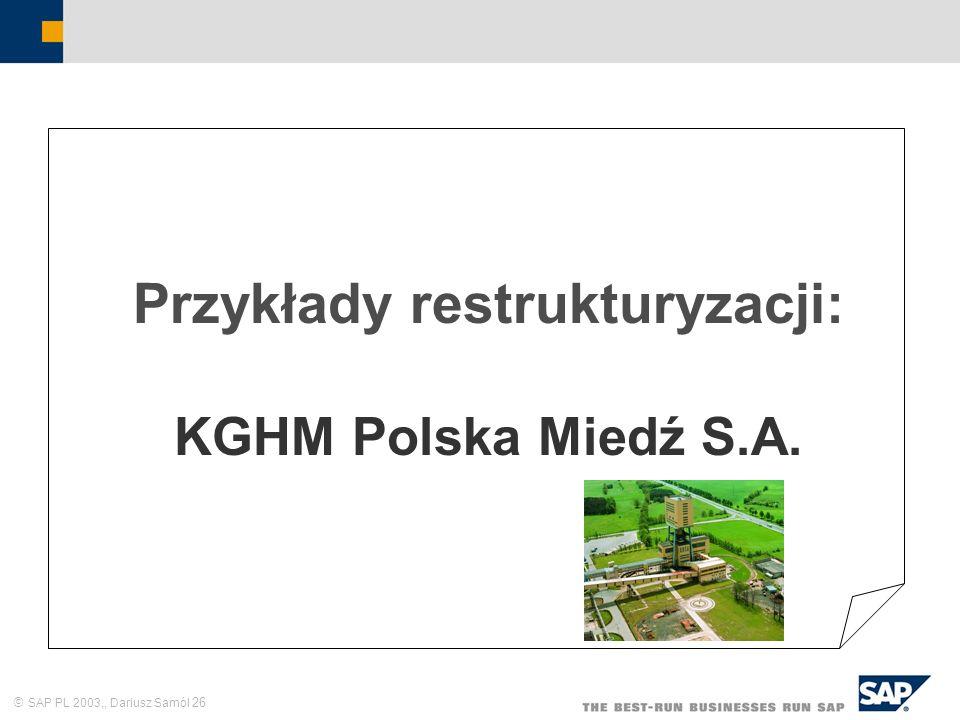 Przykłady restrukturyzacji: