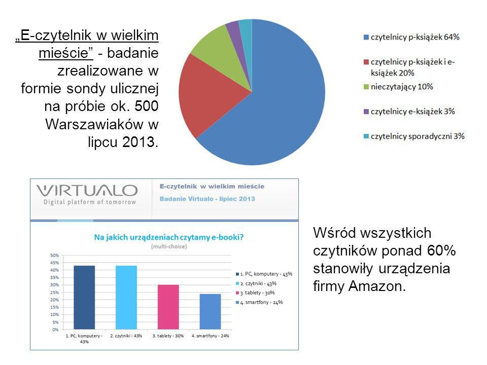 """""""E-czytelnik w wielkim mieście - badanie zrealizowane w formie sondy ulicznej na próbie ok. 500 Warszawiaków w lipcu 2013."""
