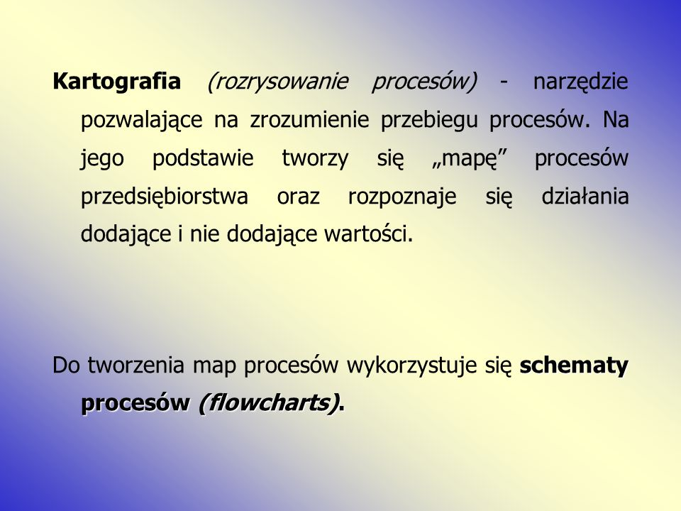 """Kartografia (rozrysowanie procesów) - narzędzie pozwalające na zrozumienie przebiegu procesów. Na jego podstawie tworzy się """"mapę procesów przedsiębiorstwa oraz rozpoznaje się działania dodające i nie dodające wartości."""