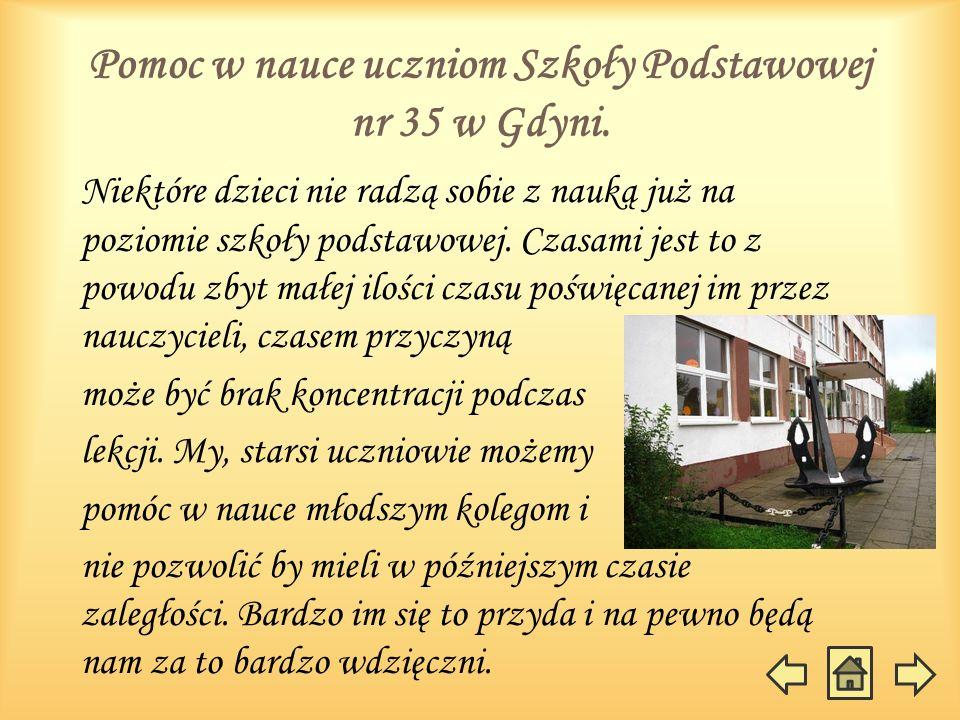 Pomoc w nauce uczniom Szkoły Podstawowej nr 35 w Gdyni.
