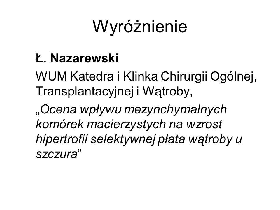Wyróżnienie Ł. Nazarewski