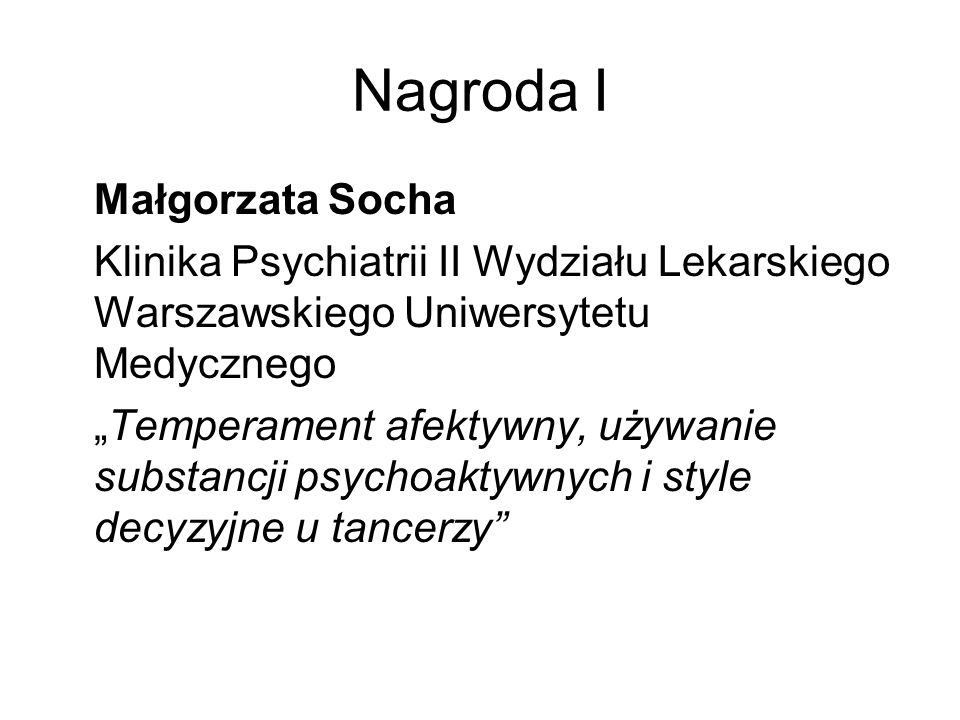 Nagroda I Małgorzata Socha