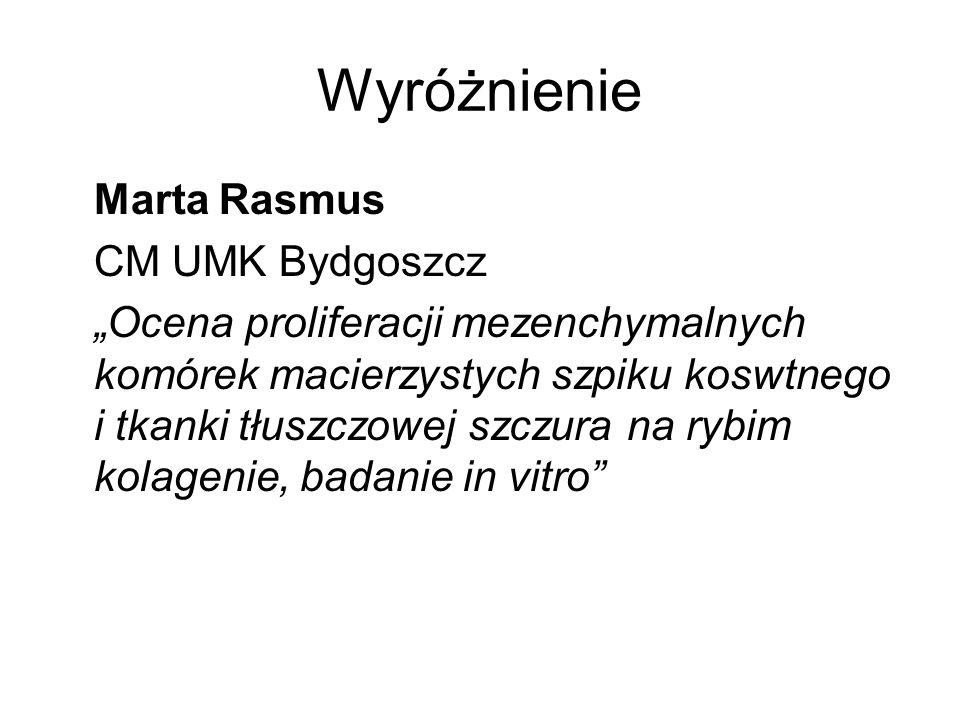 Wyróżnienie Marta Rasmus CM UMK Bydgoszcz