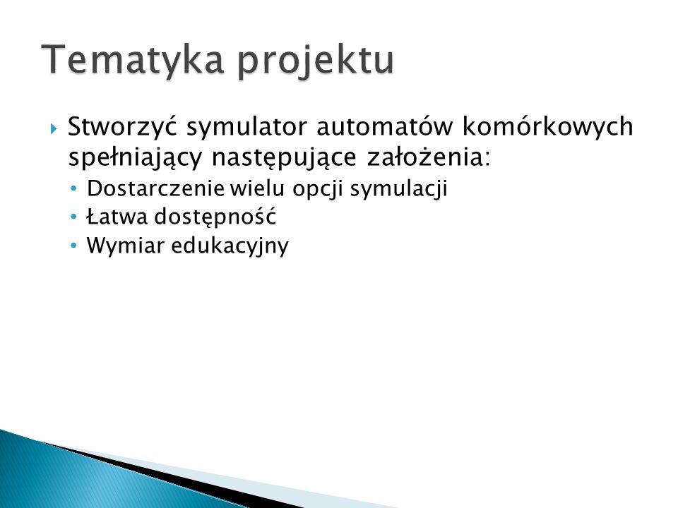 Tematyka projektu Stworzyć symulator automatów komórkowych spełniający następujące założenia: Dostarczenie wielu opcji symulacji.