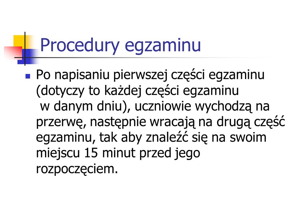 Procedury egzaminu