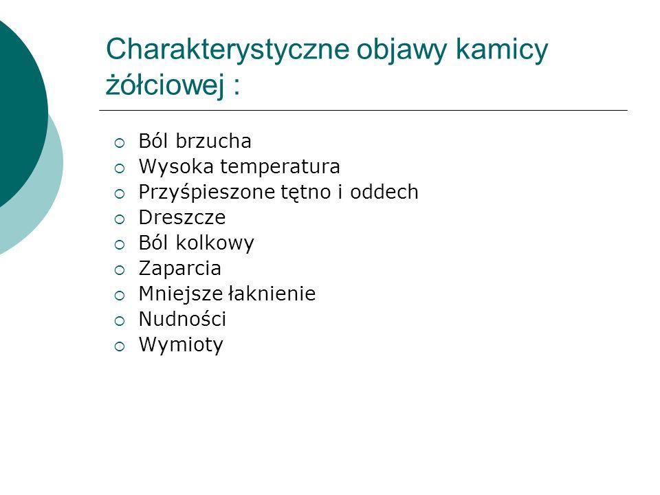 Charakterystyczne objawy kamicy żółciowej :