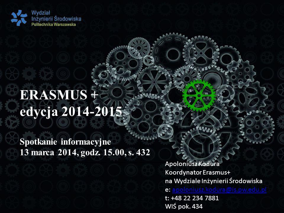 ERASMUS + edycja 2014-2015 Spotkanie informacyjne 13 marca 2014, godz