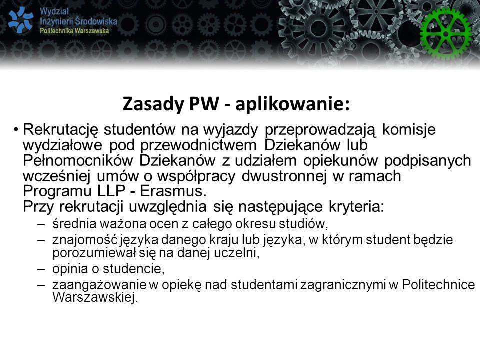Zasady PW - aplikowanie: