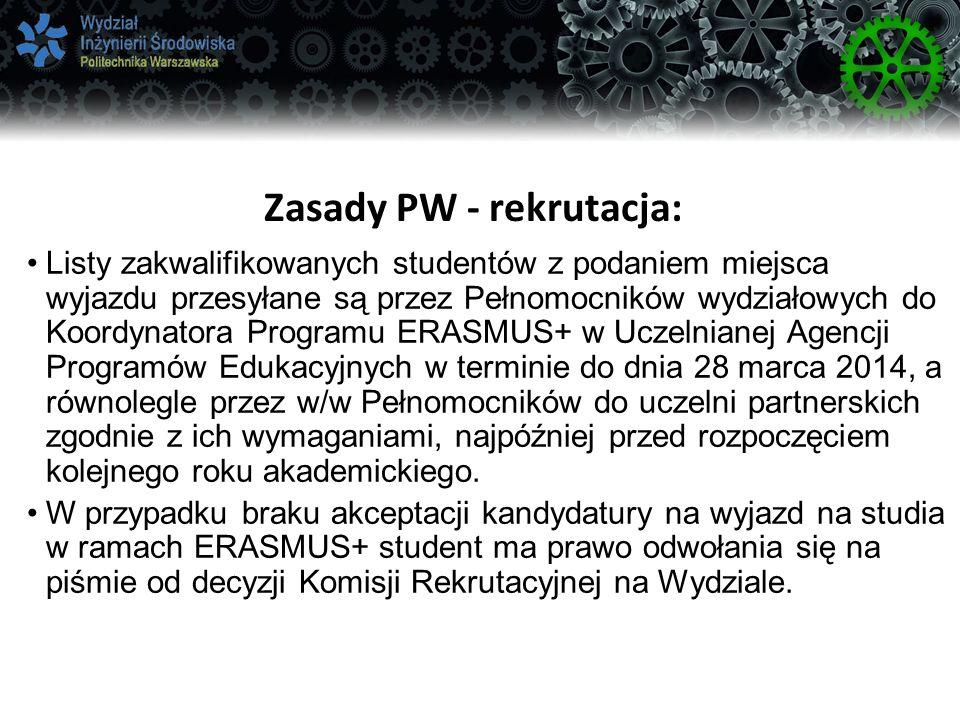 Zasady PW - rekrutacja:
