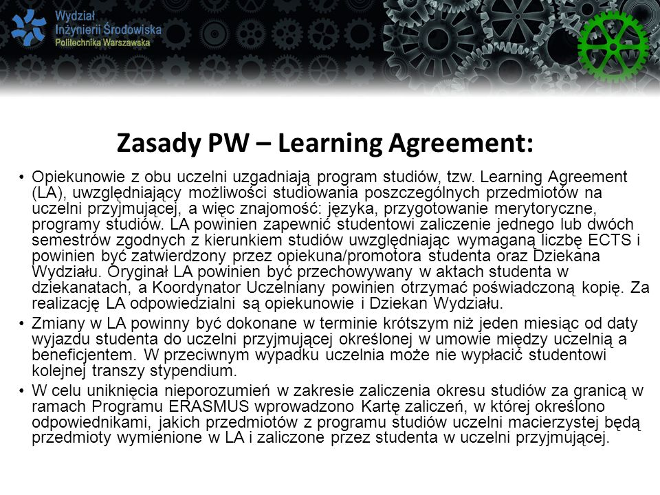 Zasady PW – Learning Agreement: