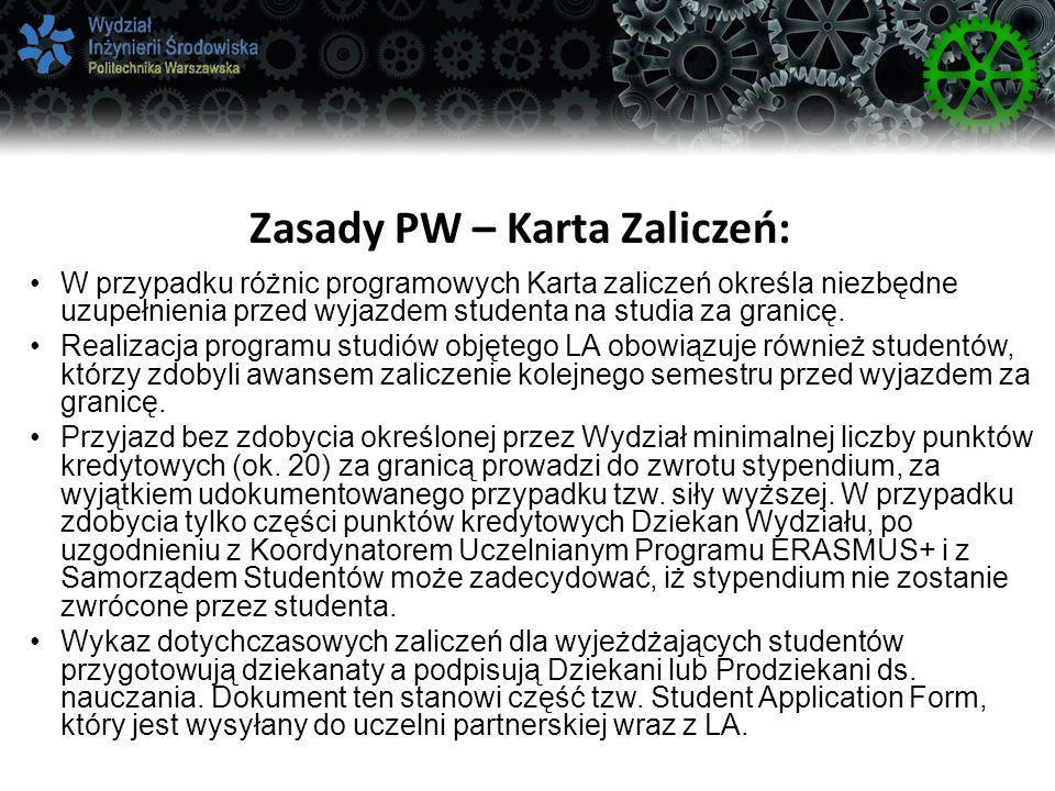 Zasady PW – Karta Zaliczeń:
