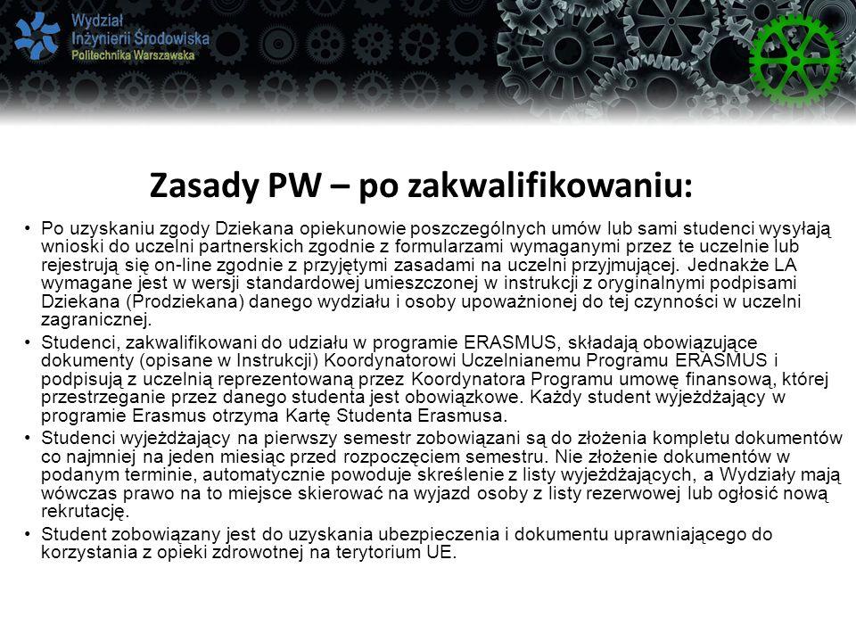 Zasady PW – po zakwalifikowaniu:
