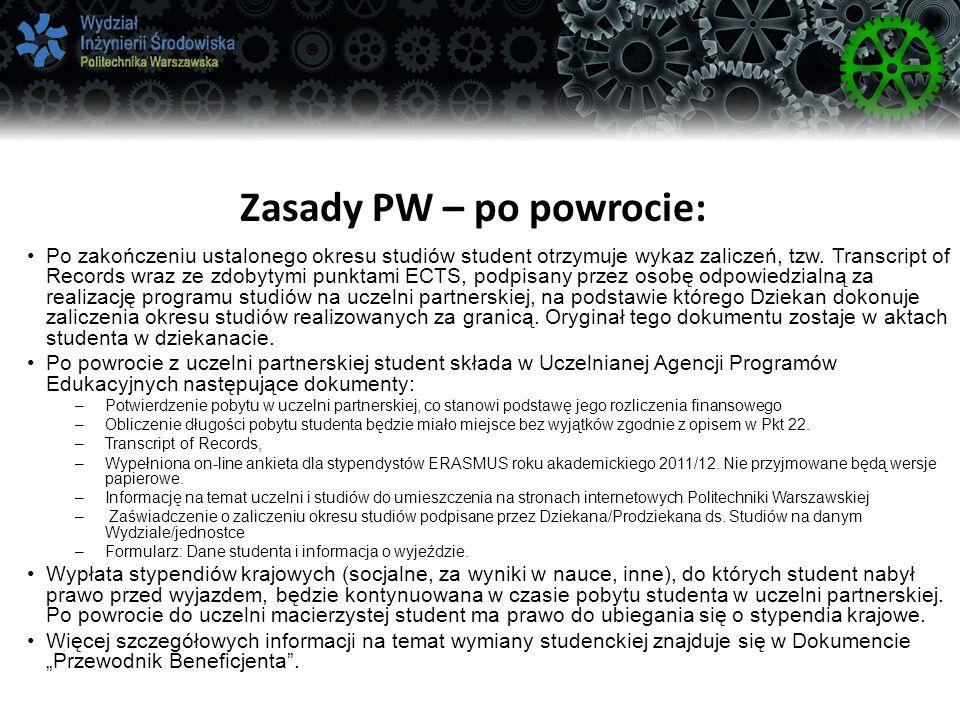 Zasady PW – po powrocie:
