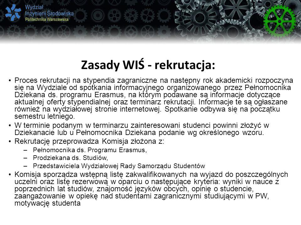 Zasady WIŚ - rekrutacja: