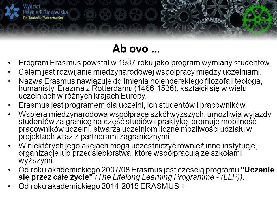 Ab ovo … Program Erasmus powstał w 1987 roku jako program wymiany studentów. Celem jest rozwijanie międzynarodowej współpracy między uczelniami.