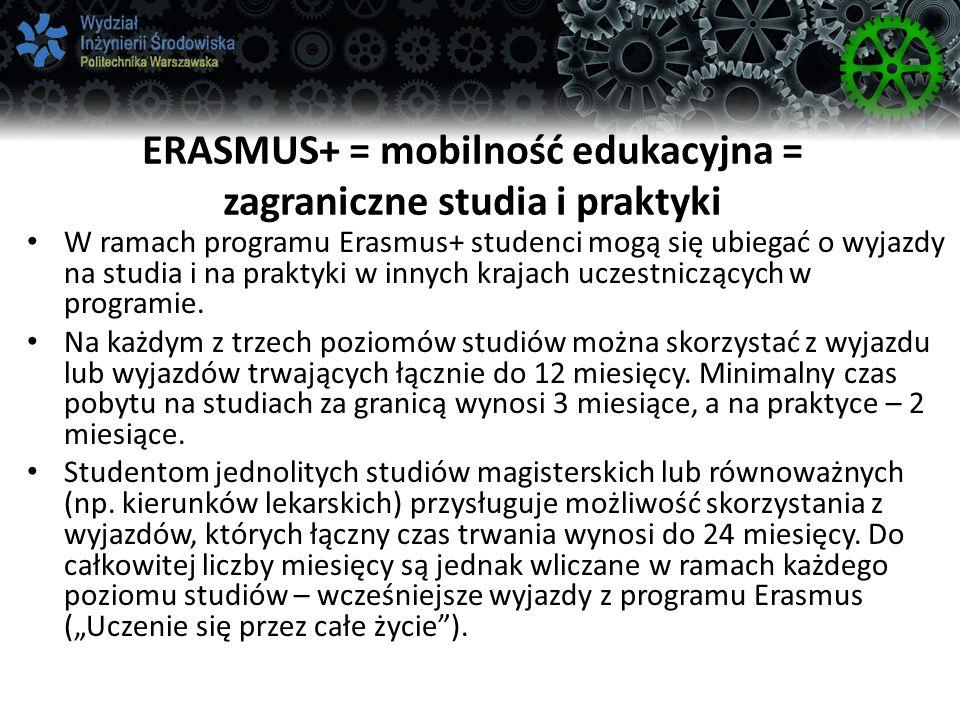 ERASMUS+ = mobilność edukacyjna = zagraniczne studia i praktyki