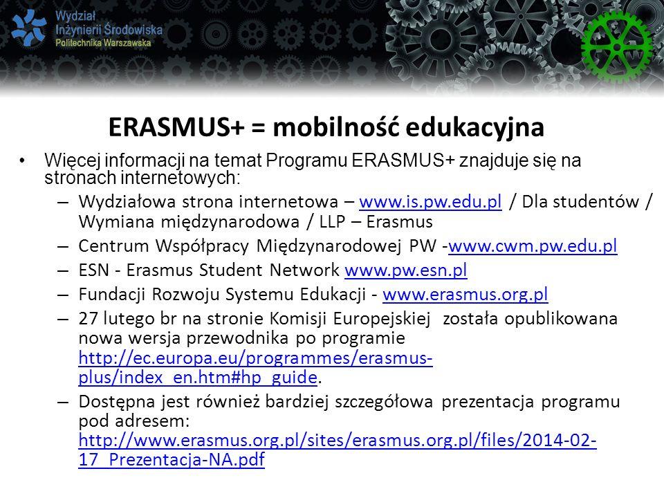 ERASMUS+ = mobilność edukacyjna