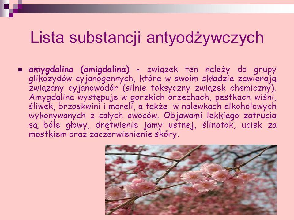 Lista substancji antyodżywczych