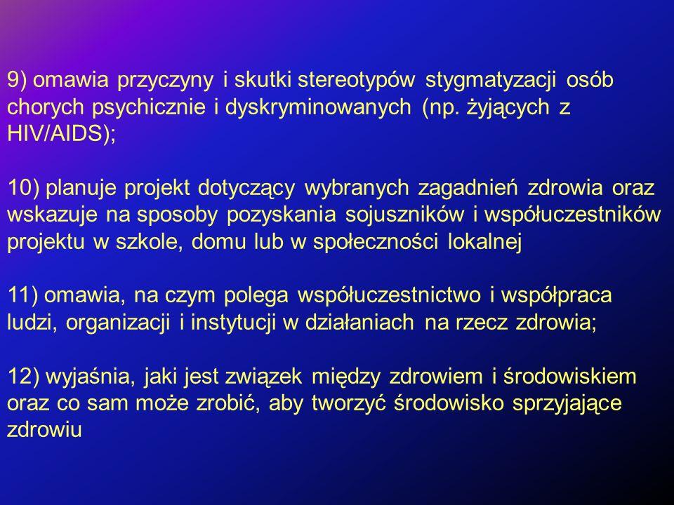 9) omawia przyczyny i skutki stereotypów stygmatyzacji osób chorych psychicznie i dyskryminowanych (np. żyjących z HIV/AIDS);