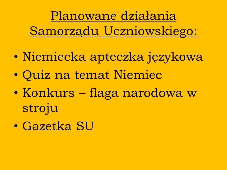 Planowane działania Samorządu Uczniowskiego: