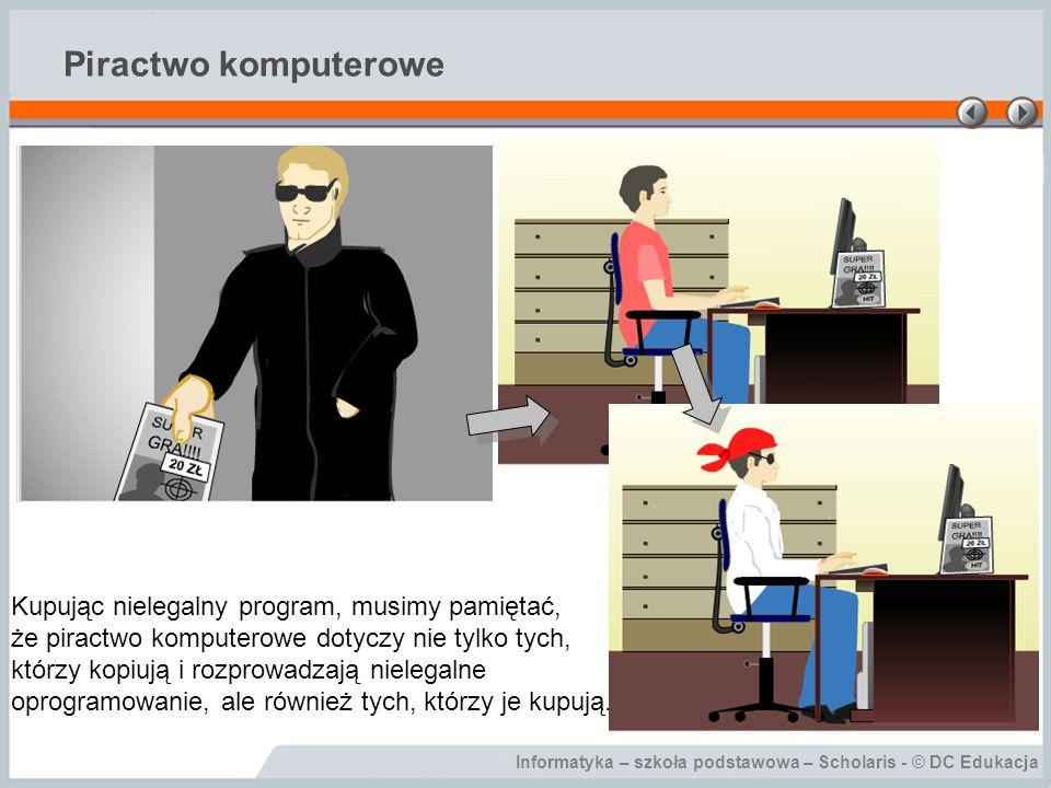 Piractwo komputerowe Kupując nielegalny program, musimy pamiętać,