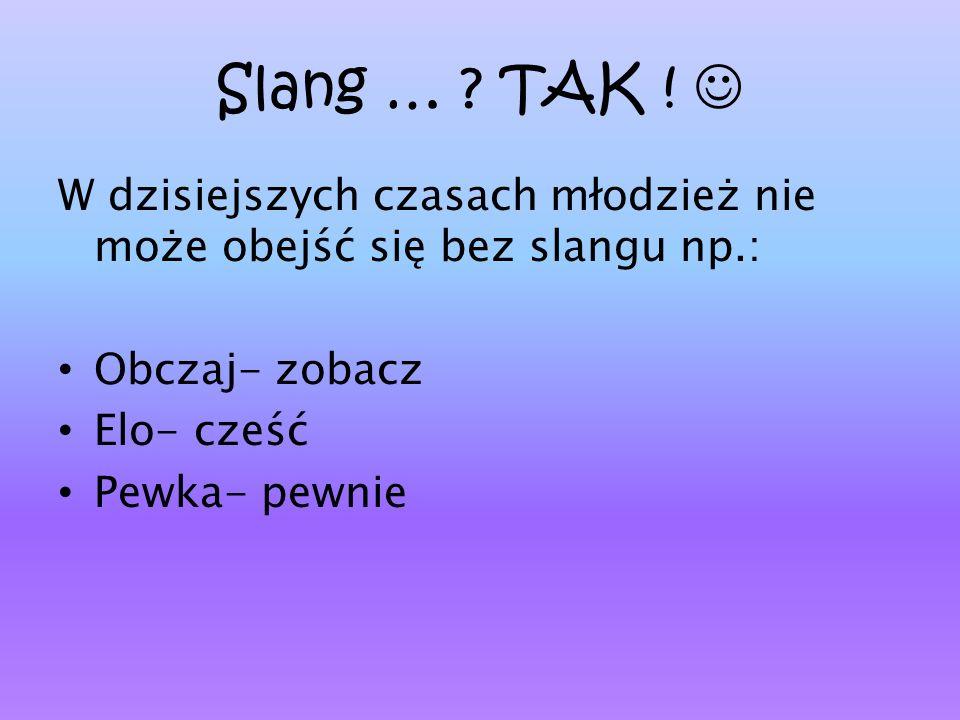 Slang … TAK !  W dzisiejszych czasach młodzież nie może obejść się bez slangu np.: Obczaj- zobacz.