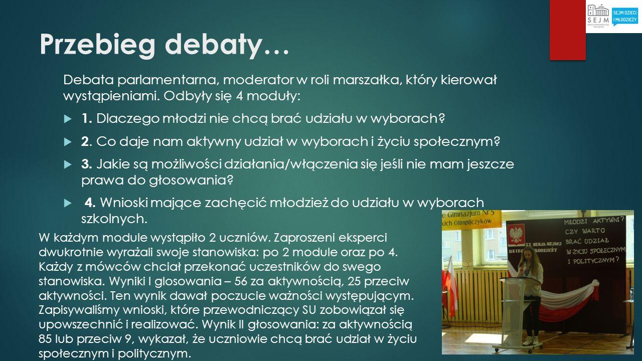Przebieg debaty… Debata parlamentarna, moderator w roli marszałka, który kierował wystąpieniami. Odbyły się 4 moduły: