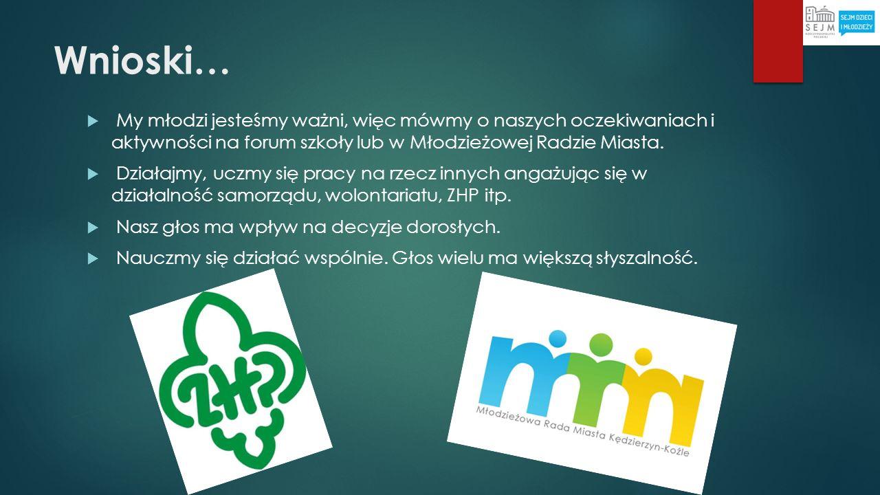 Wnioski… My młodzi jesteśmy ważni, więc mówmy o naszych oczekiwaniach i aktywności na forum szkoły lub w Młodzieżowej Radzie Miasta.