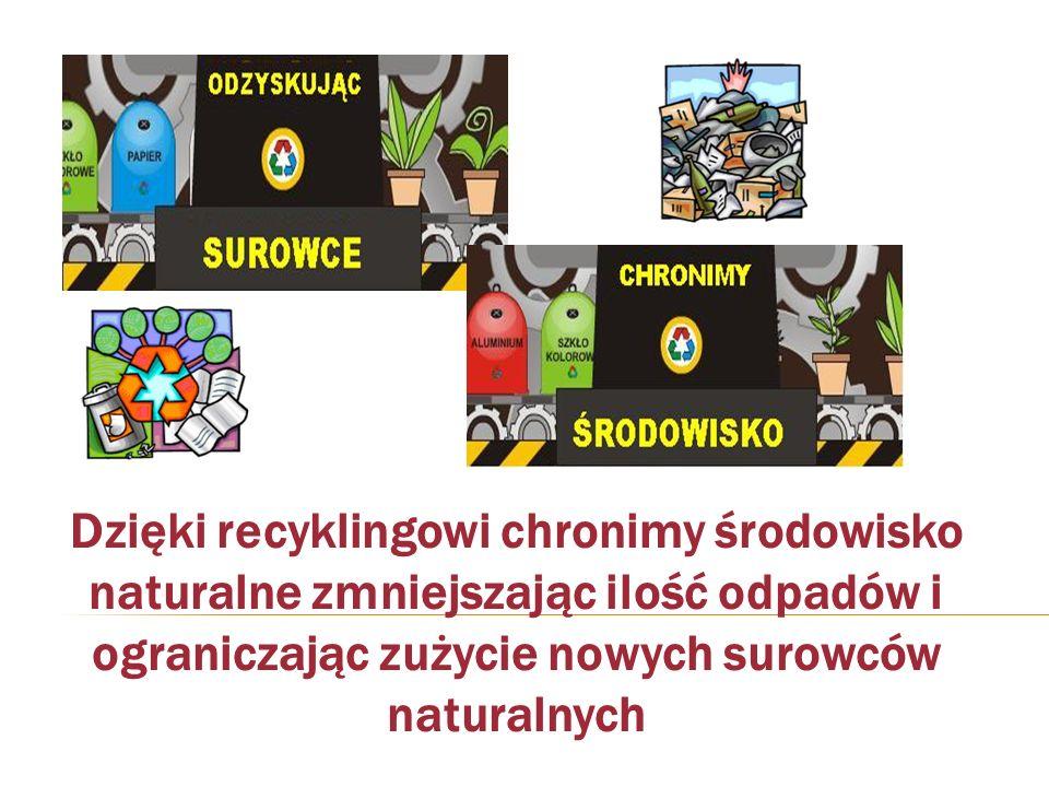 Dzięki recyklingowi chronimy środowisko naturalne zmniejszając ilość odpadów i ograniczając zużycie nowych surowców naturalnych