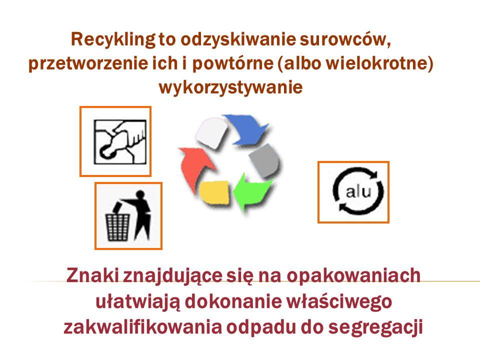 Recykling to odzyskiwanie surowców, przetworzenie ich i powtórne (albo wielokrotne) wykorzystywanie