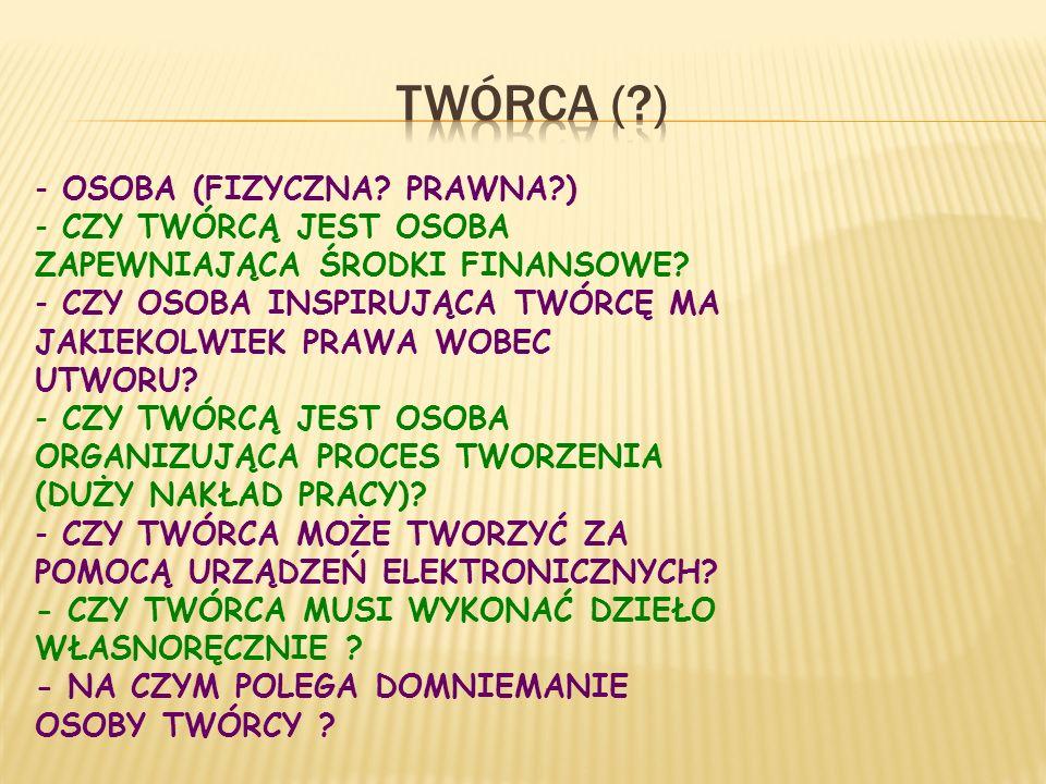 TWÓRCA ( ) OSOBA (FIZYCZNA PRAWNA )