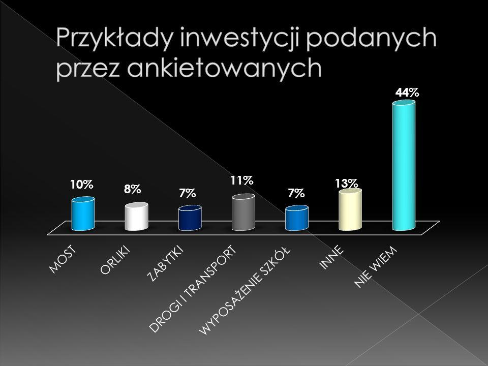 Przykłady inwestycji podanych przez ankietowanych