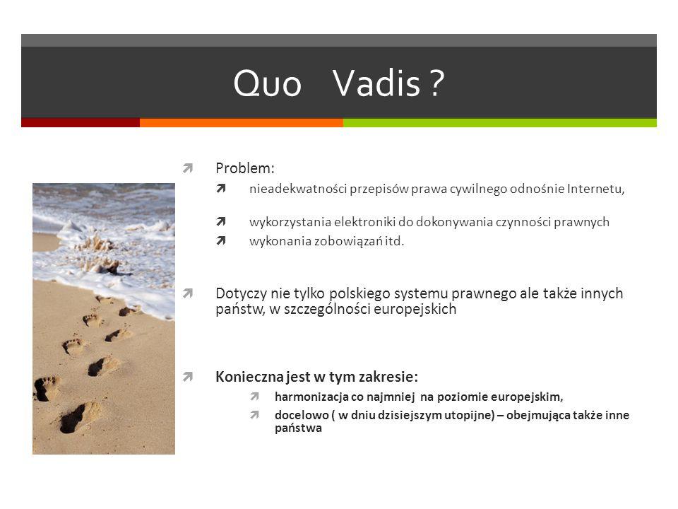 Quo Vadis Problem: nieadekwatności przepisów prawa cywilnego odnośnie Internetu, wykorzystania elektroniki do dokonywania czynności prawnych.