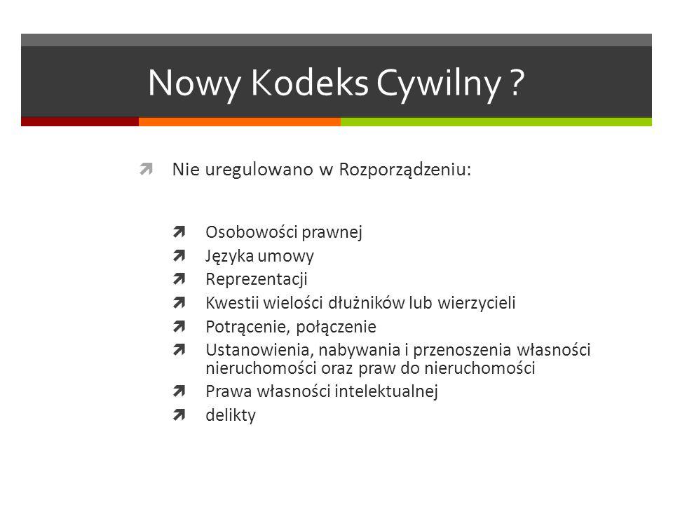Nowy Kodeks Cywilny Nie uregulowano w Rozporządzeniu:
