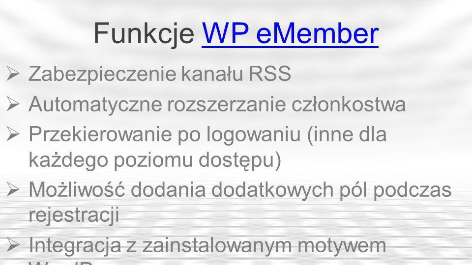 Funkcje WP eMember Zabezpieczenie kanału RSS